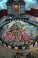 A graffiti of Lakshmi-Narayan (Hindu Goddes and God) during Onam festival, Trishur, Kerala, India.