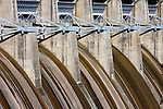 Small amount of water flowing over the Table Rock Dam from Table Rock Lake in Branson Missouri