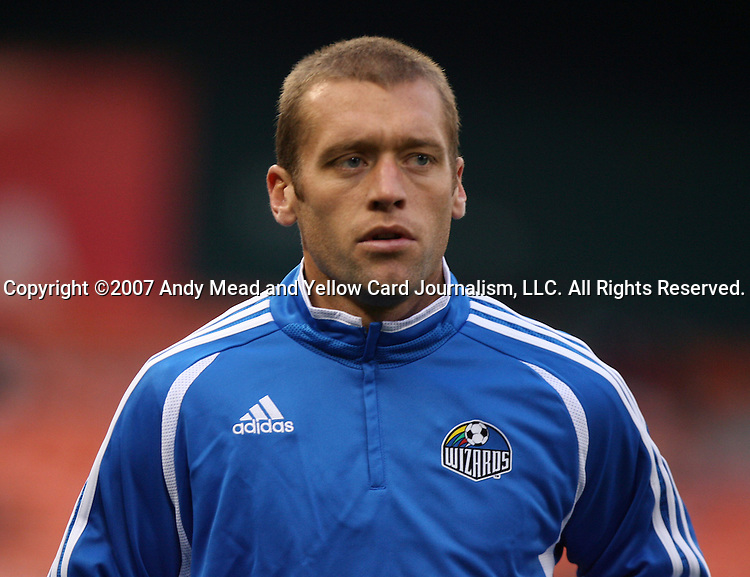14 April 2007: Kansas City's Jimmy Conrad.  DC United lost 4-2 to the Kansas City Wizards at RFK Stadium in Washington, DC in their Major League Soccer 2007 regular season home opener.