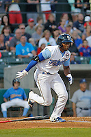 Myrtle Beach Pelicans outfielder Shawon Dunston, Jr. (3) at bat during a game against the Wilmington Blue Rocks at Ticketreturn.com Field at Pelicans Ballpark on April 09, 2015 in Myrtle Beach, South Carolina. Myrtle Beach defeated Wilmington 9-1. (Robert Gurganus/Four Seam Images)