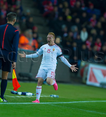 12.11.2015. Ullevaal Stadion, Oslo, Norway. Euro2016 Qualification. Norway versus Hungary. Laszio Kleinheisier of Hungary celebrates scoring the opening goal during the UEFA Euro 2016 Group H qualifying match against Hungary