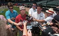 NWA Democrat-Gazette/BEN GOFF @NWABENGOFF<br /> Dave Van Horn, Arkansas head coach, talks to the press Friday, June 8, 2018, during practice for the NCAA Fayetteville Super Regional at Baum Stadium.