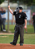Home plate umpire makes a call during a Lake Mary Rams game against the Lake Brantley Patriots on April 2, 2015 at Allen Tuttle Field in Lake Mary, Florida.  Lake Brantley defeated Lake Mary 10-5.  (Mike Janes Photography)