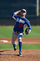 Los Angeles Dodgers pitcher MJ Villegas (37) during an instructional league game against the Milwaukee Brewers on October 13, 2015 at Cameblack Ranch in Glendale, Arizona.  (Mike Janes/Four Seam Images)