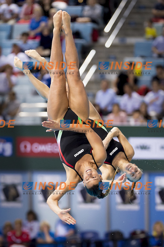 Italy DALLAPE Francesca ITA, CAGNOTTO Tania ITA<br /> 3m. Springboard Synchro Women <br /> FINA/NVC Diving World Series 2016 Dubai<br /> Hamdan Sport Complex -Dubai United Arab Emirates U.A.E. UAE<br /> March 17 -19 2016<br /> Day 0 March 16th<br /> Photo G.Scala/Insidefoto/Deepbluemedia