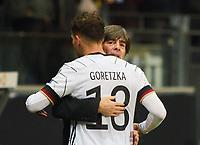 19th November 2019, Frankfurt, Germany; 2020 European Championships qualification, Germany versus Northern Ireland; Leon GORETZKA celebrates his goal with manager Loew