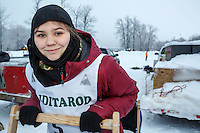 Junior Musher Hannah Mahoney at Knik during the start of the Junior Iditarod on Saturday February 25, 2017. <br /> <br /> <br /> Photo by Jeff Schultz/SchultzPhoto.com  (C) 2017  ALL RIGHTS RESVERVED