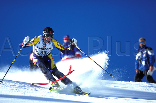 February 1996: View of STANLEY HAYER (CAN) competing in the Mens Slalom competition during the World Skiing Championships, Sierra Nevada, Spain. Photo: Glyn Kirk/Action plus...skier men snow .9602