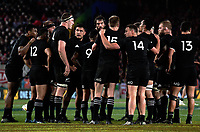 The All Blacks huddle during the 2017 DHL Lions Series rugby union 3rd test match between the NZ All Blacks and British & Irish Lions at Eden Park in Auckland, New Zealand on Saturday, 8 July 2017. Photo: Dave Lintott / lintottphoto.co.nz