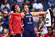 Washington, DC - June 15, 2018: WWashington Mystics guard Natasha Cloud (9) is fired up after a three point make during game between the Washington Mystics and Chicago Sky at the Capital One Arena in Washington, DC. (Photo by Phil Peters/Media Images International)