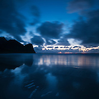 Evening sky over Unstad beach, Lofoten Islands, Norway