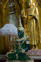 The green Buddha at Dhammalinkara Monestery in Bago, Myanmar/Burma