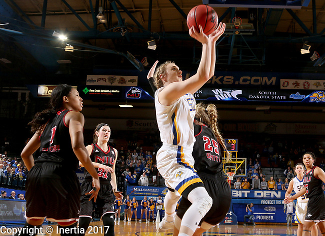 BROOKINGS, SD - MARCH 16:  Madison Guebert #11 from South Dakota State University takes the ball tot he basket against Kelly Smith #25 from Northern Illinois during their first round WNIT game Thursday at Frost Arena in Brookings.(Photo by Dave Eggen/Inertia)