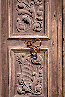 Detail on one of the doors at Mission San Hose at the San Antonio Missions National Historic Park.