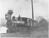 C-19 #406 with flanger and caboose at Chama.<br /> D&amp;RG  Chama, NM  1907