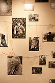 USA, California, Sonoma, detail of a wall covered in old black and white photographs, Bartholomew Park winery and vineyard