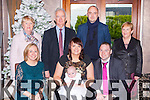 Lily Rose Falvey, Loreto Road, Killarney daughter of Rosemary and John, who celebrated her christening in the Killarney Oaks Hotel on Sunday 28th December, and god mother Clare Falvey. Back row: Kathleen and Denny Doolan, Denis Doolan and Sheila Falvey