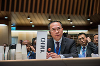Chinese official waiting to speak at the opening session of the Executive Board Meeting of the World Health Organisation, the UN's health body, at the organisation's headquarters in Geneva. The annual event is taking place in the shadow of the Corona virus outbreak, which the WHO has declared as global health emergency.