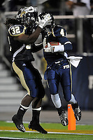 22 November 2008:  FIU wide receiver T.Y. Hilton (4) and running back Julian Reams (32) celebrate Hilton's touchdown in the ULM 31-27 victory over FIU at FIU Stadium in Miami, Florida.
