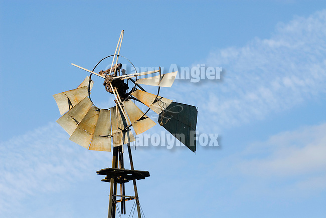 Samson steel windmill (open gear), broken windwheel, Madera Co., Calif.