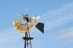 Samson steel windmill (open gear), broken windwheel, Madera Co., Calif.