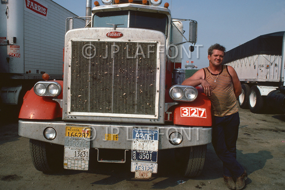 Kansas City, Missouri, September 9, 1978. Moment of rest at the Truck Stop.