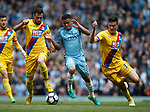 Luka Milivojevic of Crystal Palace Gabriel Jesus of Manchester City and Martin Kelly of Crystal Palace during the English Premier League match at the Etihad Stadium, Manchester. Picture date: May 6th 2017. Pic credit should read: Simon Bellis/Sportimage