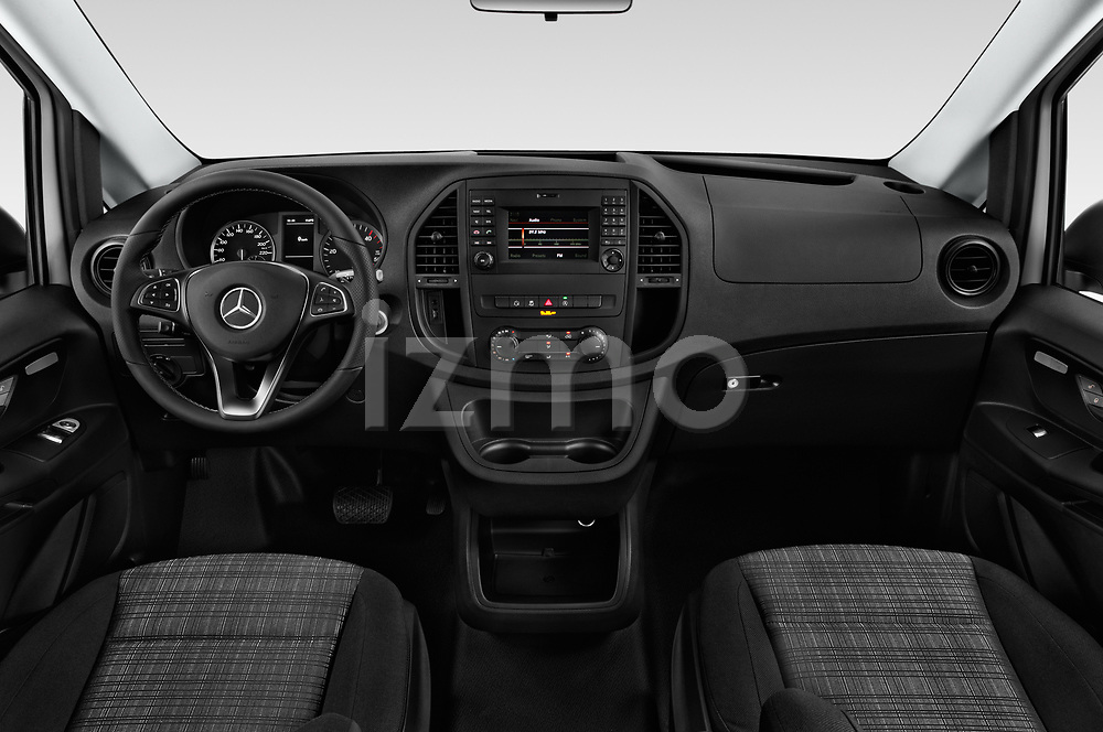 Stock photo of straight dashboard view of a 2019 Mercedes Benz Metris Base 5 Door Cargo Van