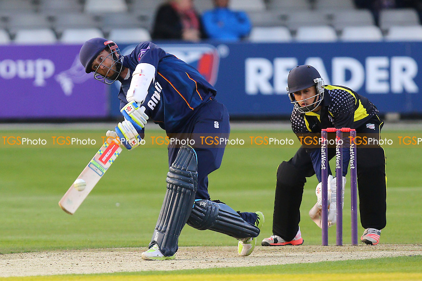 James Foster in batting action for Essex as Saf Imtiaz looks on - Essex Eagles vs Essex Premier Leagues XI - T20 Cricket Friendly Match at the Essex County Ground, Chelmsford, Essex - 13/05/15 - MANDATORY CREDIT: Gavin Ellis/TGSPHOTO - Self billing applies where appropriate - contact@tgsphoto.co.uk - NO UNPAID USE