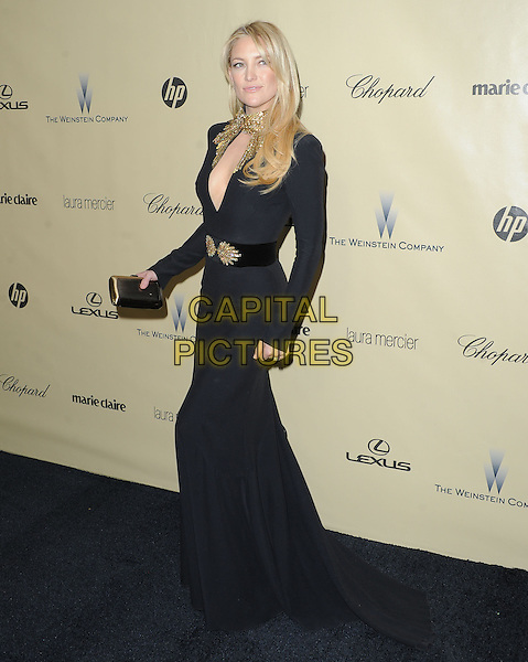 Kate Hudson.The Weinstein Company's 2013 Golden Globe After Party held at The Old Trader Vic's at The Beverly Hilton Hotel in Beverly Hills, California, USA..January 13th, 2013.globes full length dress long sleeves belt clutch bag cut out away gold collar embellished jewel encrusted                                                             .CAP/DVS.©DVS/Capital Pictures.