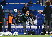 12th September 2017, Stamford Bridge, London, England; UEFA Champions League Group stage, Chelsea versus Qarabag FK; Eden Hazard of Chelsea during pre match warm up with David Luiz of Chelsea