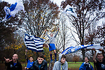 LOUISVILLE, KY - NOVEMBER 18: BYU fans cheer during the Division I Men's Cross Country Championship held at E.P. Tom Sawyer Park on November 18, 2017 in Louisville, Kentucky. (Photo by Tim Nwachukwu/NCAA Photos via Getty Images)