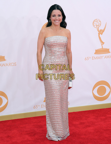 Julia Louis-Dreyfus<br /> The 65th Annual Primetime Emmy Awards - Arrivals held at The Nokia Theatre L.A. Live in Los Angeles, California, USA.<br /> September 22nd, 2013 <br /> full length dress silver metallic strapless <br /> CAP/DVS<br /> &copy;DVS/Capital Pictures
