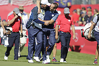 Paul Lawrie (Vice-Captain Team Europe) and Sergio Garcia (Team Europe) on the 1st  during the Friday afternoon Fourball at the Ryder Cup, Hazeltine national Golf Club, Chaska, Minnesota, USA.  30/09/2016<br /> Picture: Golffile | Fran Caffrey<br /> <br /> <br /> All photo usage must carry mandatory copyright credit (&copy; Golffile | Fran Caffrey)