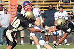 Palos Verdes, CA 09/24/10 - Conner Preston (Serra #11) and Jin Matsumoto (Peninsula #40)  in action during the Serra-Peninsula varsity football game at Peninsula High School.