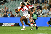 4th November 2017, Sydney Football Stadium, Sydney, Australia; Rugby League World Cup, England versus Lebanon; Jermaine McGillvary of England makes a run from defence