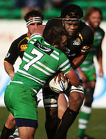 Manawatu flanker Doug Tietjens tries to steal the ball from Api Naikatini during the Air NZ Cup preseason match between Manawatu Turbos and Wellington Lions at FMG Stadium, Palmerston North, New Zealand on Friday, 17 July 2009. Photo: Dave Lintott / lintottphoto.co.nz