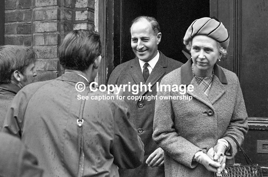 Captain Terence O'Neill, Prime Minister of N Ireland, with his wife, Jean, leaves Belfast's Ulster Hall, after receiving a vote of confidence from the Ulster Unionist Council. Ref: 196904010144, LinenHall 144/69..Copyright Image from Victor Patterson, 54 Dorchester Park, Belfast, UK, BT9 6RJ..Tel: +44 28 9066 1296.Mob: +44 7802 353836.Voicemail +44 20 8816 7153.Skype: victorpattersonbelfast.Email: victorpatterson@mac.com.Email: victorpatterson@ireland.com (back-up)..IMPORTANT: If you wish to use this image or any other of my images please go to www.victorpatterson.com and click on the Terms & Conditions. Then contact me by email or phone with the reference number(s) of the image(s) concerned.