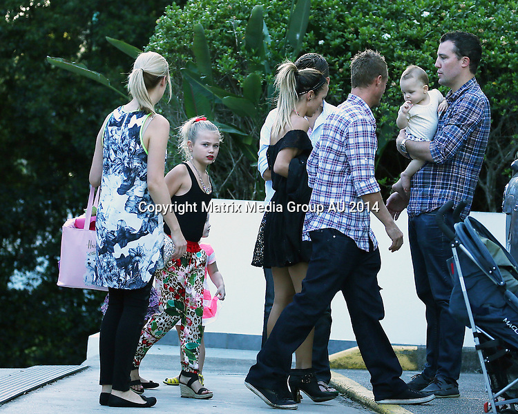 20 DECEMBER 2014 SYDNEY AUSTRALIA<br /> <br /> EXCLUSIVE <br /> <br /> Bec &amp; Lleyton Hewitt pictured with their kids along with Lleytons sister Jaslyn and her children arriving at a family dinner in the Hills area. The long running family feud with Jaclyn seems to be set aside as Lleyton and Jaslyn are seen together for the first time this Christmas since 2008. <br /> <br /> *No web use without clearance*.<br /> MUST CONTACT PRIOR TO USE <br /> +61 2 9211-1088. <br /> <br /> Matrix Media Group.Note: All editorial images subject to the following: For editorial use only. Additional clearance required for commercial, wireless, internet or promotional use.Images may not be altered or modified. Matrix Media Group makes no representations or warranties regarding names, trademarks or logos appearing in the images.