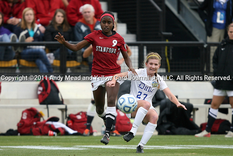 04 December 2011: Duke's Alex Straton (27) and Stanford's Chioma Ubogagu (9). The Stanford University Cardinal played the Duke University Blue Devils at KSU Soccer Stadium in Kennesaw, Georgia in the NCAA Division I Women's Soccer College Cup Final.