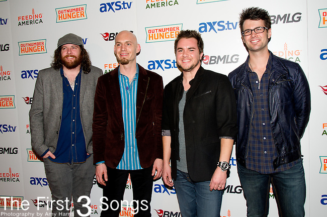 James Young,  Jon Jones, Mike Eli, and Chris Thompson of the Eli Young Band arrives at the ACM Experience Outnumber Hunger event at The Orleans Arena in Las Vegas, Nevada.