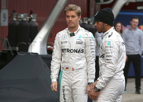 22.02.2016. Barcelona, Spain.  German Formula One driver Nico Rosberg (R) of Mercedes and British Formula One Lewis Hamilton (R) of Mercedes AMG Petronas Team are seen during the launch of the new car W07 for the upcoming Formula One season at the Circuit de Barcelona - Catalunya in Barcelona, Spain.