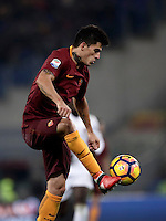 Calcio, Serie A: Roma vs Milan. Roma, stadio Olimpico, 12 dicembre 2016.<br /> Roma&rsquo;s Diego Perotti controls the ball during the Italian Serie A football match between Roma and AC Milan at Rome's Olympic stadium, 12 December 2016.<br /> UPDATE IMAGES PRESS/Isabella Bonotto