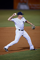 Tampa Yankees third baseman Kyle Holder (12) throws to first base during a game against the Lakeland Flying Tigers on April 7, 2017 at George M. Steinbrenner Field in Tampa, Florida.  Lakeland defeated Tampa 5-0.  (Mike Janes/Four Seam Images)