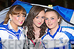 Lauren Hickey, Christine Brosnan and Aoibheann O'Connor celebrating Castleisland Desmonds victory at the team homecoming in Castleisland on Saturday night