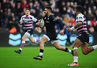 Ospreys' Rhys Webb in the build up to scoring his sides second try<br /> <br /> Photographer Kevin Barnes/CameraSport<br /> <br /> Guinness Pro14 Round 13 - Ospreys v Cardiff Blues - Saturday 6th January 2018 - Liberty Stadium - Swansea<br /> <br /> World Copyright &copy; 2018 CameraSport. All rights reserved. 43 Linden Ave. Countesthorpe. Leicester. England. LE8 5PG - Tel: +44 (0) 116 277 4147 - admin@camerasport.com - www.camerasport.com