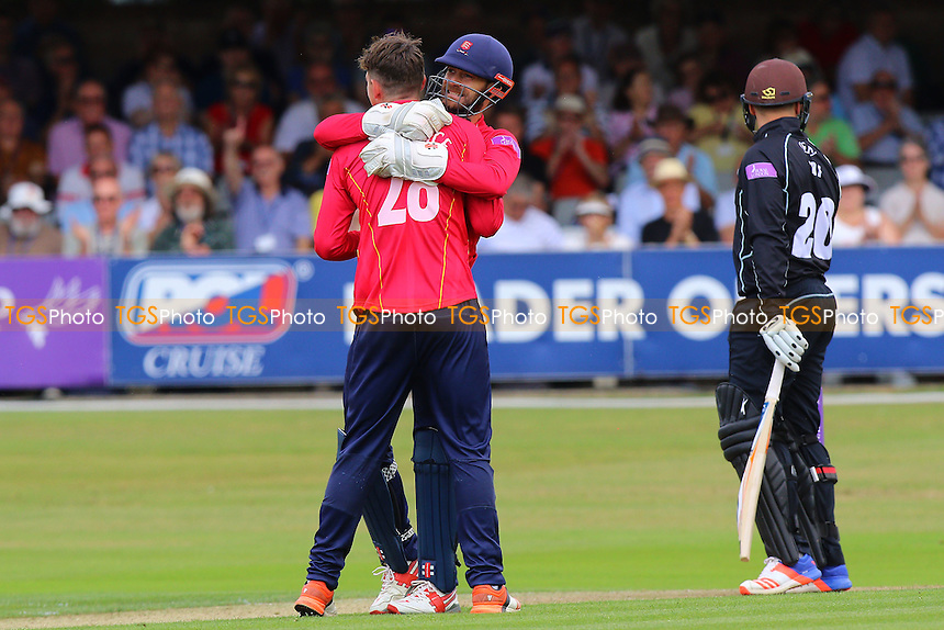James Foster of Essex (C) celebrates the stumping of Jason Roy from the bowling of Daniel Lawrence during Essex Eagles vs Surrey, Royal London One-Day Cup Cricket at the Essex County Ground on 24th July 2016