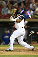 Kane County Cougars outfielder Jeffrey Baez (33) at bat during a game against the Quad Cities River Bandits on August 14, 2014 at Third Bank Ballpark in Geneva, Illinois.  Kane County defeated Quad Cities 4-1.  (Mike Janes/Four Seam Images)