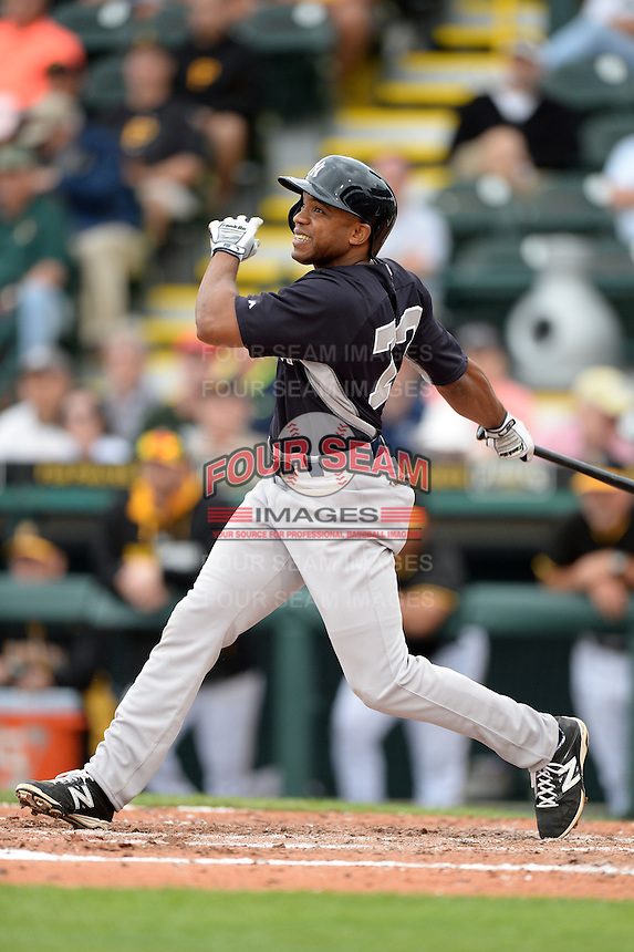 Outfielder Antoan Richardson (73) of the New York Yankees during a spring training game against the Pittsburgh Pirates on February 26, 2014 at McKechnie Field in Bradenton, Florida.  Pittsburgh defeated New York 6-5.  (Mike Janes/Four Seam Images)