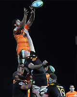 Javier Otega Desio wins lineout ball during the Super Rugby match between the Chiefs and Jaguares at Rotorua International Stadum in Rotorua, New Zealand on Friday, 4 May 2018. Photo: Dave Lintott / lintottphoto.co.nz